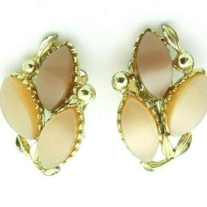 Gold Tone Brown Tan Thermoset Flower Clip Earrings